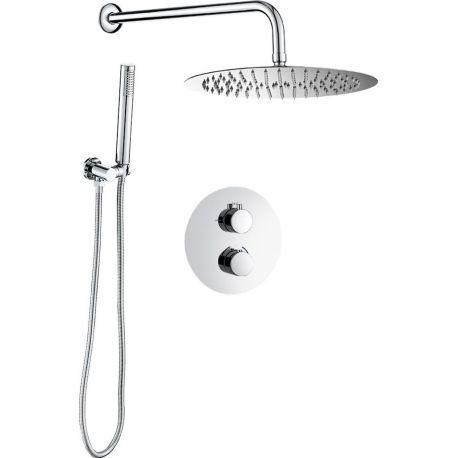 Conjunto de ducha empotrada pared termostatico redondo
