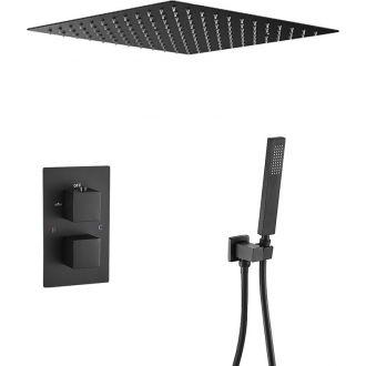 Ducha encastrada a ras de techo termostatica negra mate