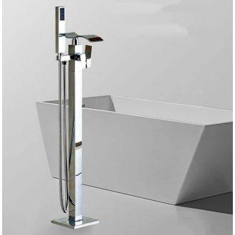 Grifo autoportante de bañera cascada independiente pie a suelo