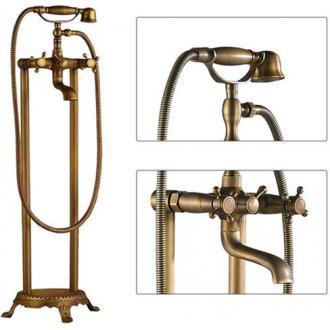 Grifo para bañera exenta dorado envejecido vintage bimando retro