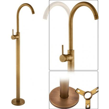 Grifo pie independiente dorado envejecido bañera / lavabo monomando