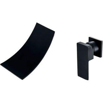Grifo empotrado cascada negro mate pared monomando
