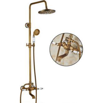 Conjunto de ducha retro dorado envejecido diseño vintage