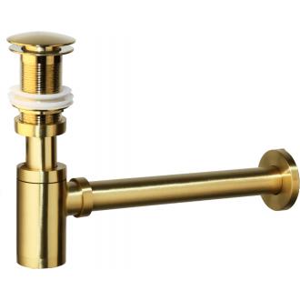 Sifón visto + tapón dorado cepillado válvula click clack redondo