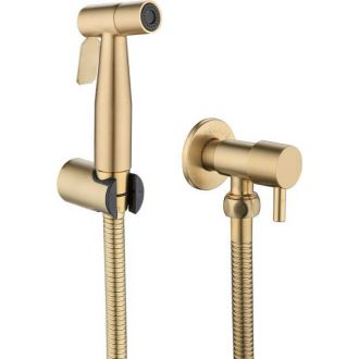 Grifo de bidet empotrado dorado cepillado ducha higienica oro