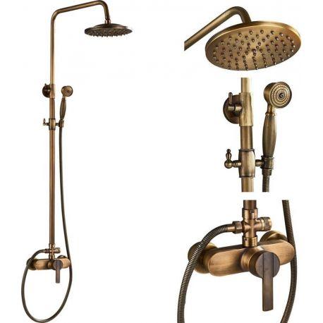 Barra de ducha vintage dorada envejecida retro monomando retro