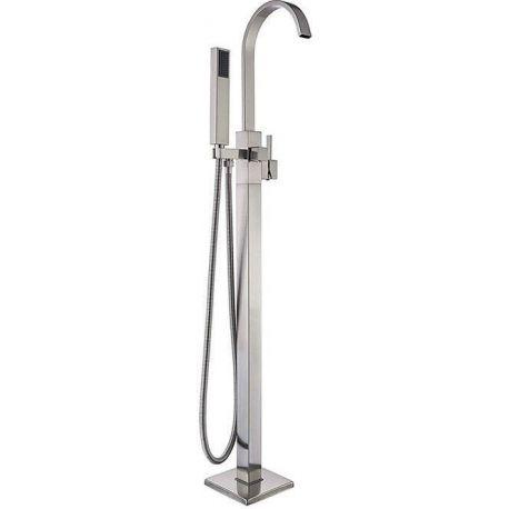 Grifo para bañera exenta acero cepillado monomando nikel