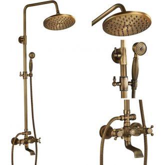 Griferia retro de bañera / ducha bimando estrella vintage dorado viejo