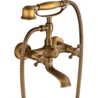 Griferia de bañera retro dorado viejo bimando estrella vintage