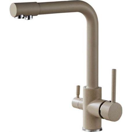 Grifo fregadero 3 vías beige grafito con purificación de agua potable ósmosis
