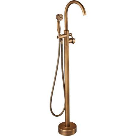Grifo para  bañera exenta dorado envejecido vintage monomando retro