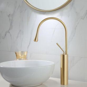 Grifo de lavabo pica alto dorado cepillado monomando  giratorio oro