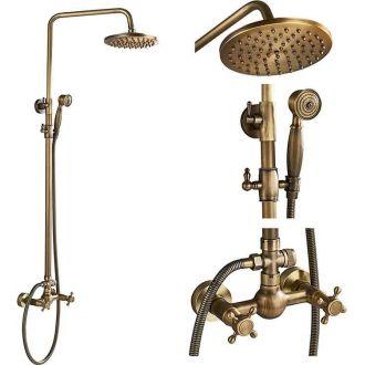 Barra de ducha vintage dorado envejecido bimando oro viejo