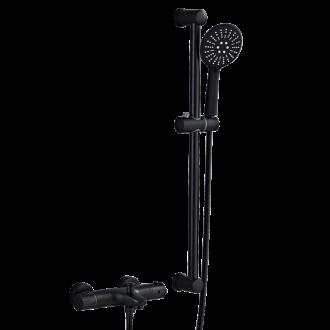 Grifería  de ducha negro mate/ bañera termostática con barra independiente